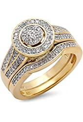 0.50 Carat (ctw) 18k Yellow Gold Plated Sterling Silver White Diamond Ladies Engagement Ring Set 1/2 CT