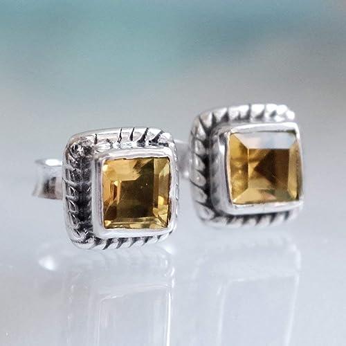Yellow Gift Women Birthday Mom Coworker Girlfriend Tiny Dainty Earrings November Birthstone Jewelry Delicate Push Present Valentines Day