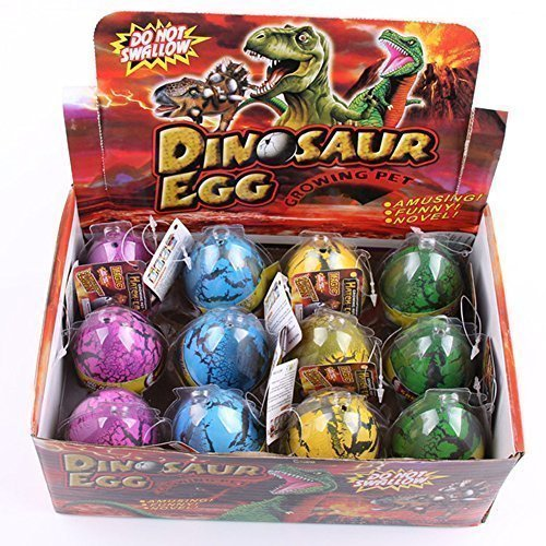 YKL WORLD Hatching Dinosaur Eggs, Set of 12 Pcs Crack Colorful Grow Dino Egg That Hatch in Water Growing Pet Birthday Easter Party Favors Gifts for Kids Boys ()