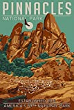 Pinnacles National Park, California - WPA Formations and Condor (9x12 Art Print, Wall Decor Travel Poster)