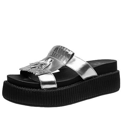 T.U.K. Shoes Womens Limited Edition Silver Kiltie Slip on Mule