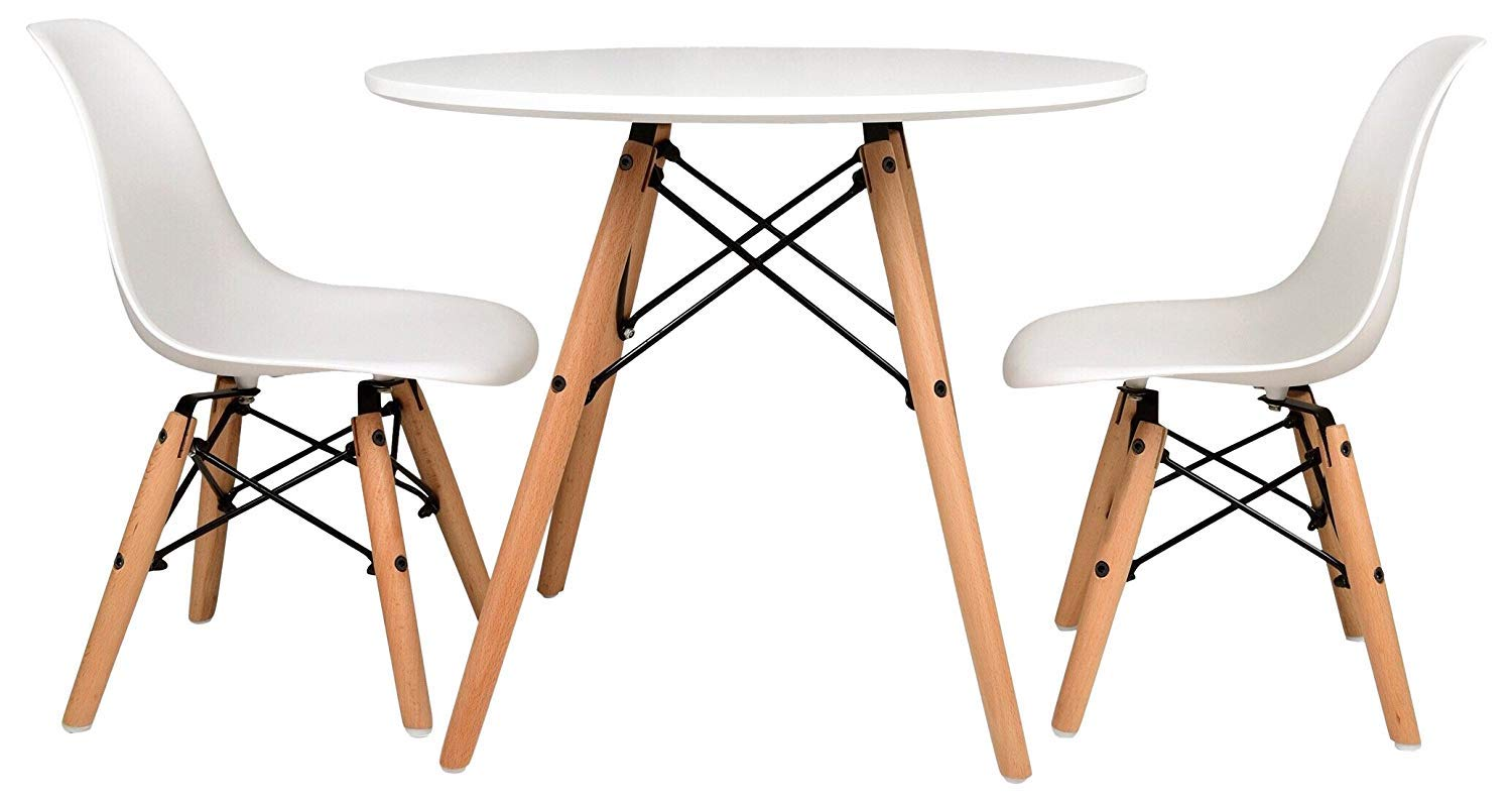 Cool Urbanmod Kids Mid Century Style Modern White Table Set Round Table With Two 2 Abs Easy Clean Chairs Highest Strength Capacity 330Lbs Safer Bralicious Painted Fabric Chair Ideas Braliciousco