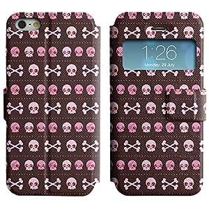 LEOCASE Cráneos Y Huesos Funda Carcasa Cuero Tapa Case Para Apple iPhone 5 / 5S No.1000693