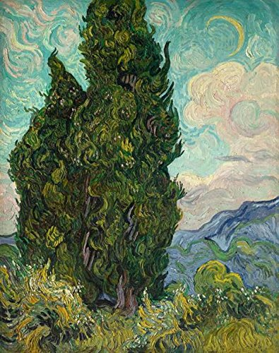 The Polyster Canvas Of Oil Painting 'Vincent Van Gogh - Cypresses,1889' ,size: 12x15 Inch / 30x39 Cm ,this Beautiful Art Decorative Prints On Canvas Is Fit For Bar Artwork And (Diy Van Gogh Costume)