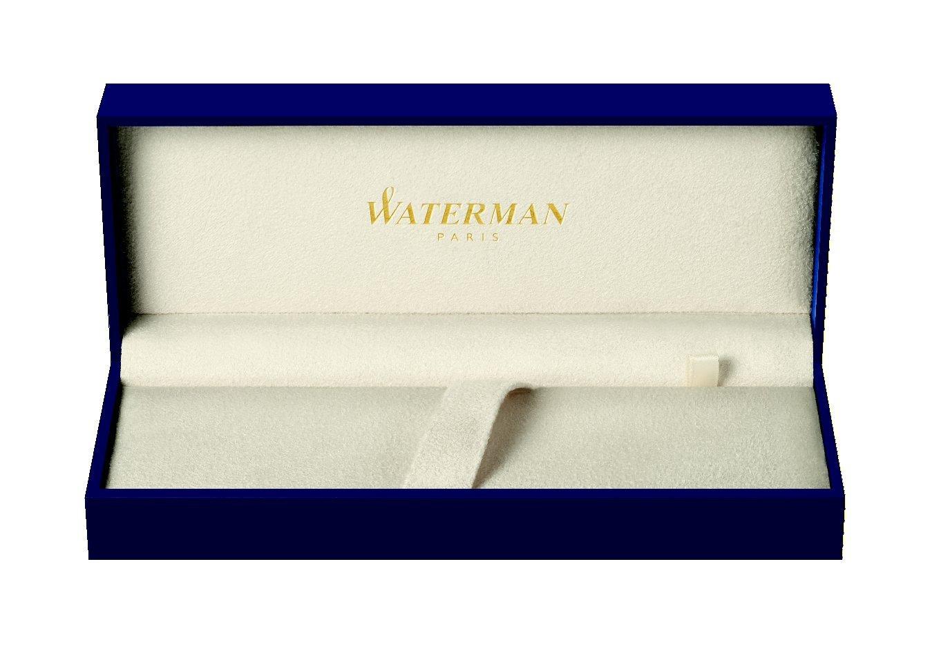 Waterman H/émisph/ère Penna Roller Nero Lucido con Finiture Cromate Confezione Regalo Punta Fine con Cartuccia di Inchiostro Nero