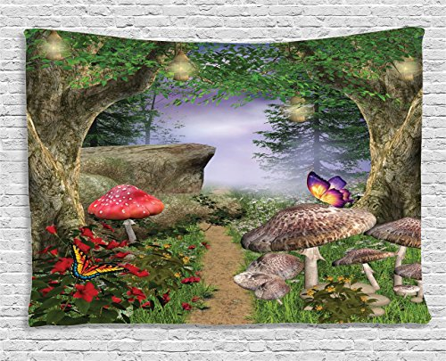 Fairy Tapestry (Mushroom Tapestry Forest Decor by Ambesonne, Enchanted Nature Pathway with Butterflies Flowers Trees and Rocks Fairytale Landscape, Wall Hanging for Bedroom Living Room Dorm, 80 W X 60 L, Multi Color)