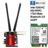 intel インテル Wireless-AC 9260NGW 無線LAN・Bluetoothカード 802.11ac wave2 (1,733Mbps) Bluetooth 5.0 M.2 (2230) A E インテル 9260 NGW (ヒートシンク付)