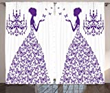 Cheap Ambesonne Love Decor Curtains 2 Panel Set, Country Wedding Artwork Prints Butterflies Princess Retro Chic Girls Teens Bachelorette Party, Living Room Bedroom Decor, 108 W X 84 L Inches, Purple