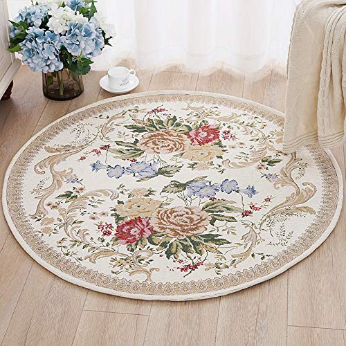 Floral Round Rose - USTIDE Country Style Soft Cotton Rugs Washable Rose Design Throw Rugs Round Floral Floor Rugs for Bedroom 39.3''Round