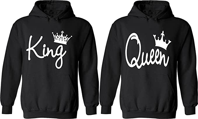 96be12b95f Amazon.com: Couple King & Queen - Matching Couple Hoodies - His and ...