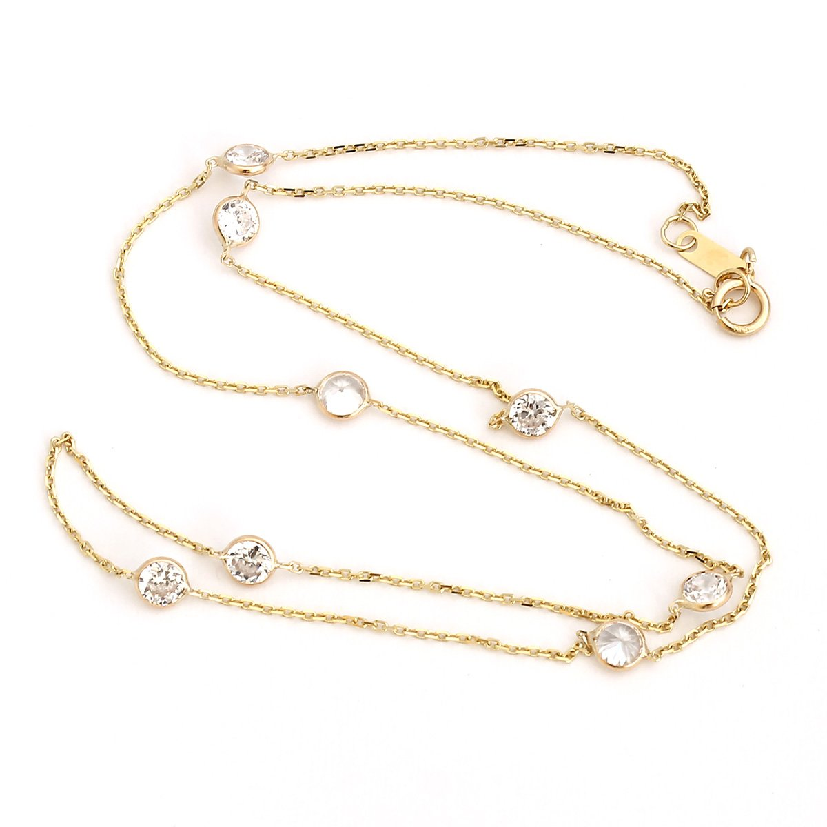 14k Yellow Gold Cubic Zirconia CZ Station Necklace, 16 Inches by Beauniq