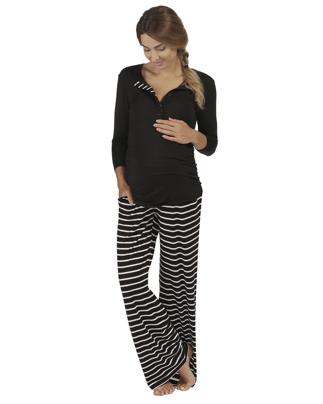 The Essential One - Womens Maternity Long-Sleeve Black Stripe Nursing Pyjamas - Black - Medium (8-10) - EOM203
