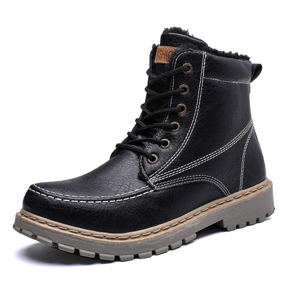 HILOTU Kampfstiefel für Herren - Schnürschuh Mit Quadratischer Zehe für Militärische Taktische Arbeit Motorradwandern (Farbe   Schwarz, Größe   44 EU)