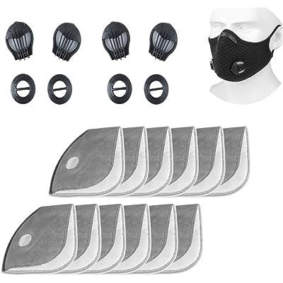 12 filtros de repuesto de carbón activo + 4 válvulas de respiración, reutilizables, transpirables, filtro de mascarilla para polvo PM 2,5 para bicicleta, deporte, mascarilla de protección respiratoria
