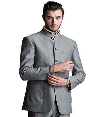 3cba3b2c9 MY'S Men's Custom Made Groomsman Mandarin Lapel Tuxedo Suit Pants Set Grey  ...