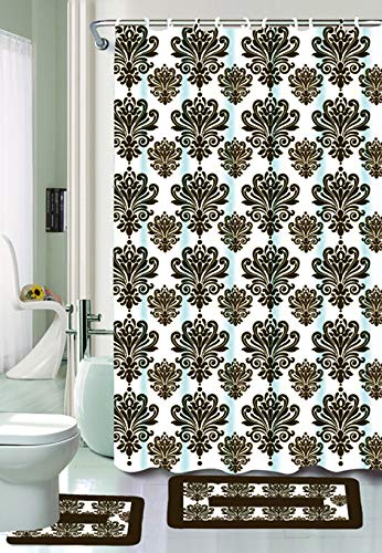 15 Piece Bathroom Accessory Set: 2-Rugs/Mats (1-Contour Rug, 1-Bath Mat) Poly Acrylic Pile Rubber Backing, 1-Fabric Shower Curtain, 12-Fabric Covered Rings Designs- (Sophia)