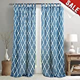 Cheap Moroccan Tile Print Bedroom Curtains 108 Inches Length Lattice Quatrefoil Printed Water-repellent Tab Top Trellis Canvas Living Room Curtain Panels Blue Window Curtains, 1 Panel