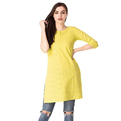 2fae3f7f6 Aania Womens Embroider Short Cotton Kurti (Mustard