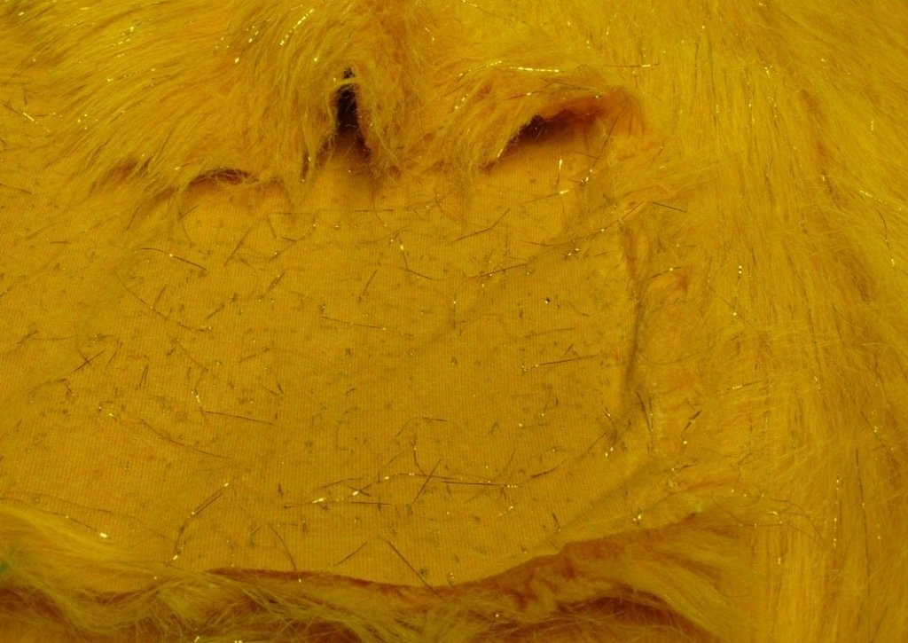 Faux Fake Fur Sparkling Gold Tinsel on Yellow 60 Inch Wide Fabric By the Yard F.E./®