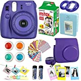FujiFilm Instax Mini 8 Instant Film Camera Grape + Instax Mini Film Twin Pack 20 Sheets + PU leather Case + Frames + Photo Album + 4 Color Filters + Selfie Mirro And More 9 in 1 Top Accessories Bundle