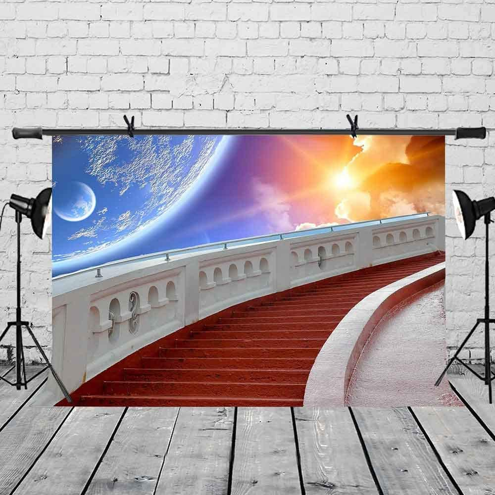 CdHBH 7x5ft Creative Staircase Backdrop Sunset Starry Skyline Creative Suspension Stairs Photography Backdrop Photo Photography Background Props Studio Indoor Decorations LYNAN461
