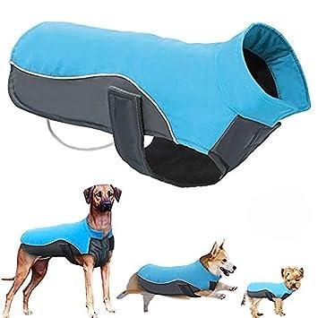 POPETPOP Chaqueta de Invierno para Perros Chaqueta de Lana Impermeable para Mascotas Parka Ropa de Perro de Abrigo para Perros Grandes Tamaño 4XL (Azul): ...