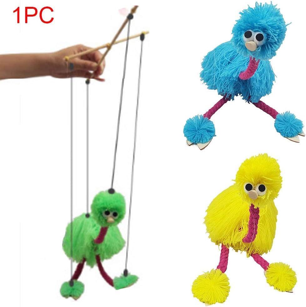 Rosa CVERY 2pcs Tirar Cuerda Cachorro Juguete Ni/ños Marioneta Mu/ñeca con Avestruz Forma Padres Hijos Interactivo Juguetes para Ni/ños Cumplea/ños Regalo Free Size