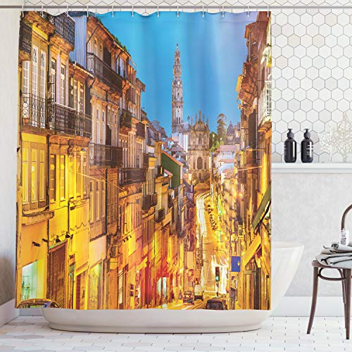 (Ambesonne European Cityscape Decor Shower Curtain Set, Cityscape Toward Old Buildings in Porto Mediterranean Town Streets Scenic Image, Bathroom Accessories, 75 Inches Long, Gold Blue)