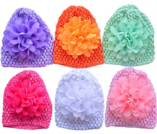 Qandsweet Baby Newborn Crochet Hats Infant Cap and Chiffon Flower 0-6M ()