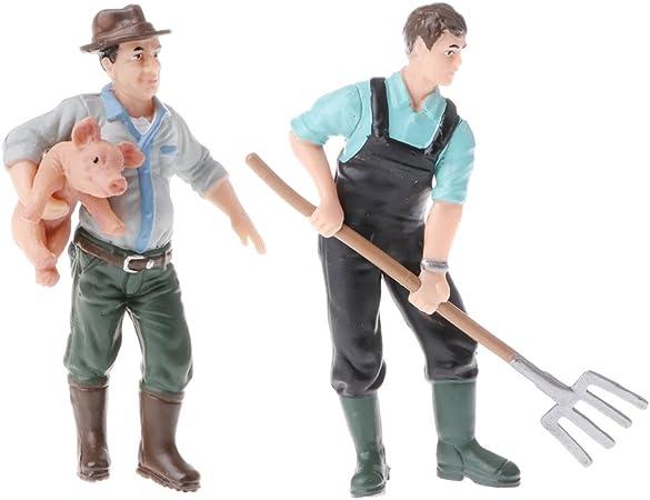 3pcs Realistic Farmer Man People Model Figure Figurine Kids Toy Home Decor