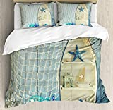 Nautical Bedding Duvet Cover Sets for Children/Adult/Kids/Teens Twin Size, Nautical Boat Standing Against The Wall Other Aquatic Objects Sea Featured Picture, Hotel Luxury Decorative 4pcs, Blue Beige