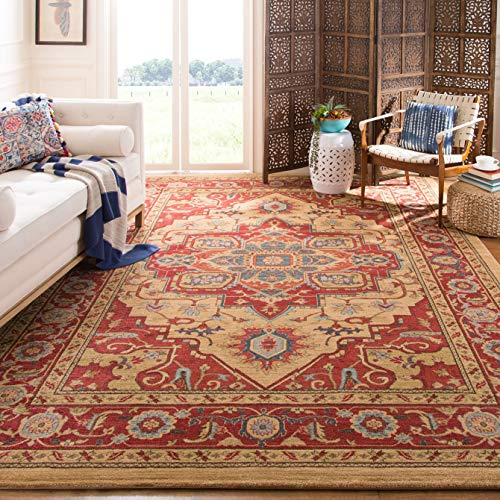 Safavieh Mahal Collection MAH698A Traditional Oriental Red and Natural Area Rug (9' x 12') (Symphony Rug Collection)
