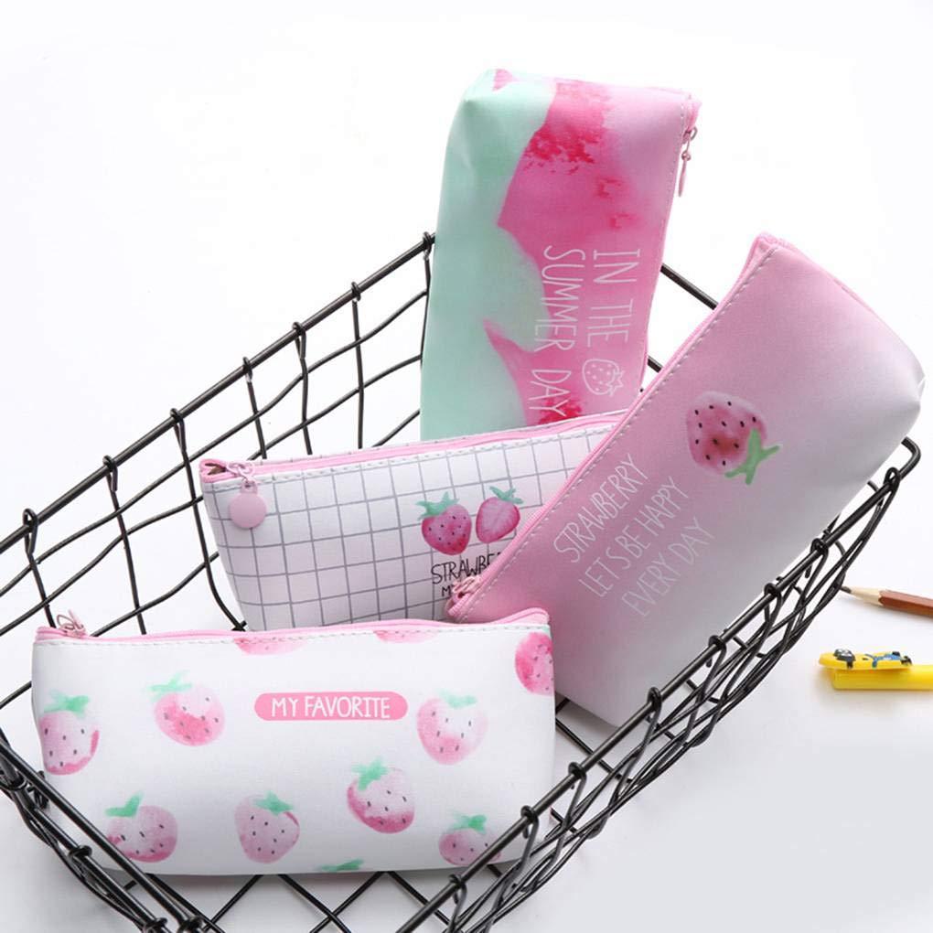 Uokoki Pluma de la caja de la PU de los ni/ños fresa l/ápiz bolsa estudiantes de los efectos de la cremallera de la bolsa bolsa de la pluma del gel marcadores bolsa