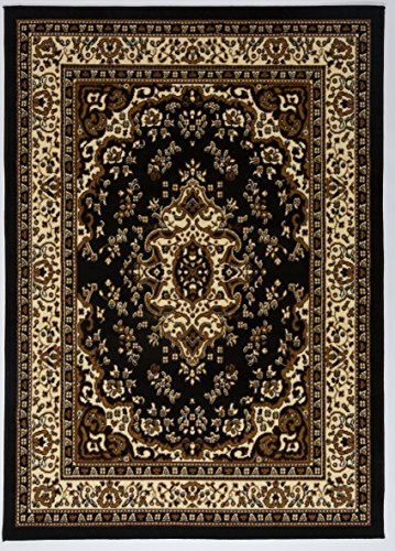 Antep Rugs Kashan King Collection Himalayas Oriental Polypropylene Indoor Area Rug (Black and Beige, 5' x (Black Persian Rug)