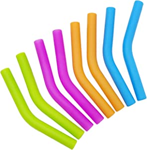 GFDesign Food Grade Silicone Straw Elbows Tips Soft Reusable Metal Stainless Steel Straw Nozzles Only Fit for 1/4