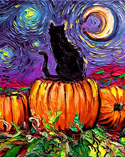 (Halloween decoration Large 16x20 inch Print Starry Hallows' Eve by Aja Black Cat Pumpkin Patch Starry Night)