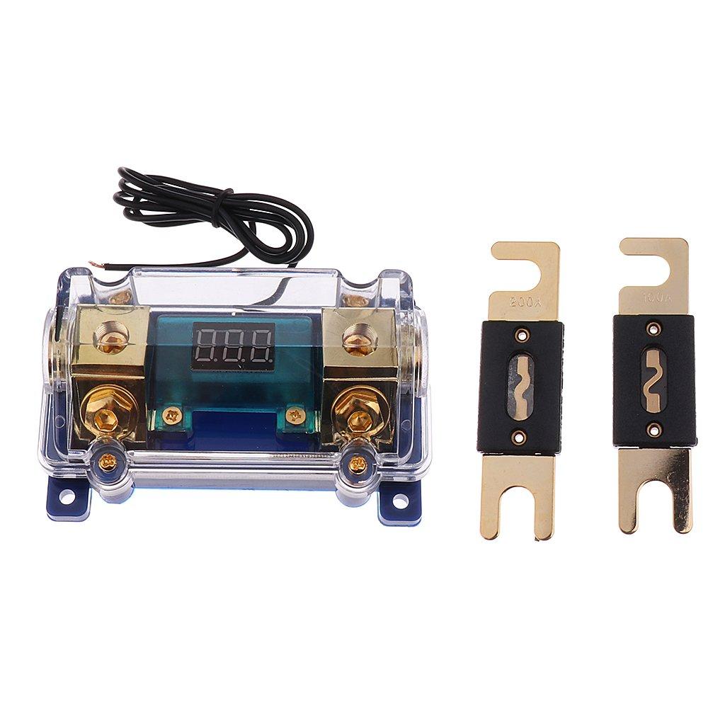 Sharplace 1 Stk Wohnwagen Roter LED-Sicherungshalter Vergoldet mit 200 Amp 100 Apmere Sicherungen