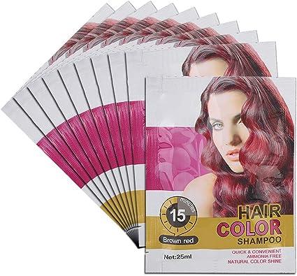 Tinte para el cabello desechable, 25 ml 10 bolsas de champú ...