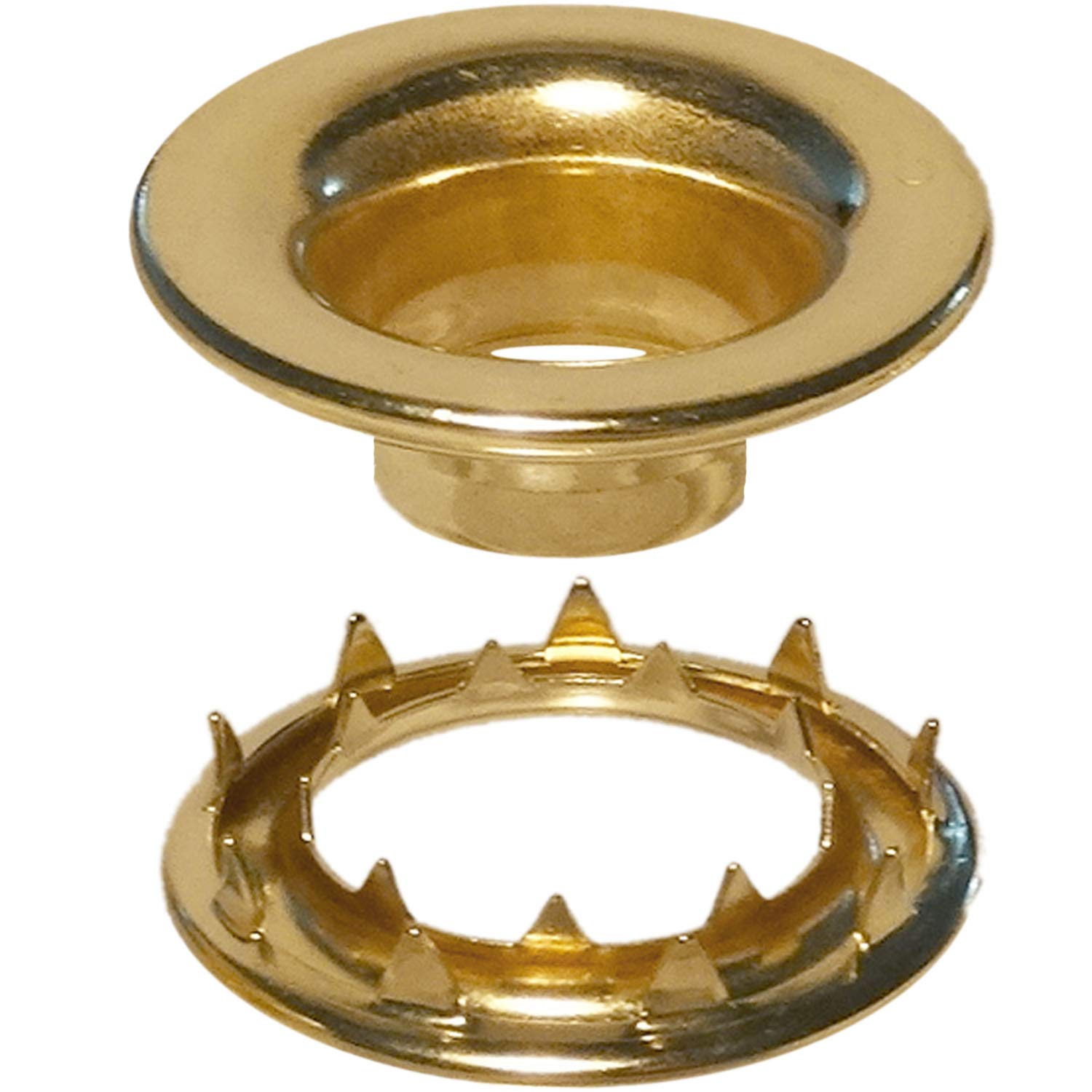 Stimpson Rolled Rim Grommet and Spur Washer Brass Durable, Reliable, Heavy-Duty #5 Set (144 pieces of each)
