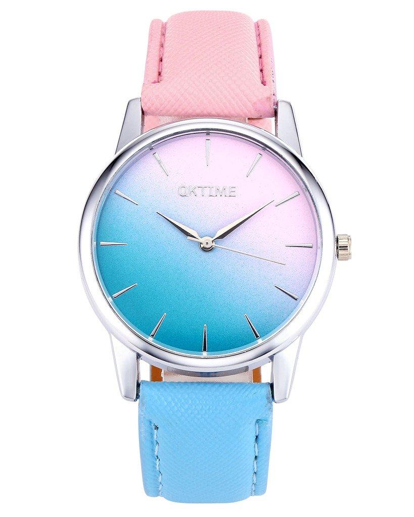 JSDDE Uhren,Fashion Cute Candy Farbe Damen Armbanduhr Pink-Blau Farbverlauf Kleid Uhr PU Lederband Analog Quarz Uhr