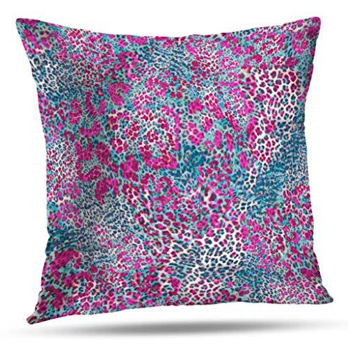 (Kutita Animal Print Decorative Pillow Covers, Blue and Pink Animal Tile Leopard Skin Zebra Snake Tiger Repeat Throw Pillow Decor Bedroom Livingroom Sofa 18X18 inch)