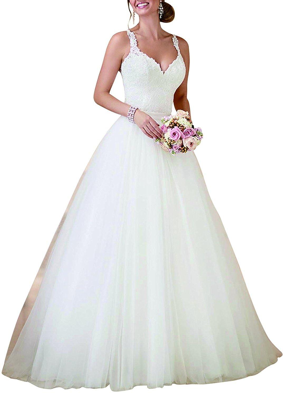 PearlBridal Womens V-Neck Spaghetti Straps Lace Wedding Dresses with Detachable Train