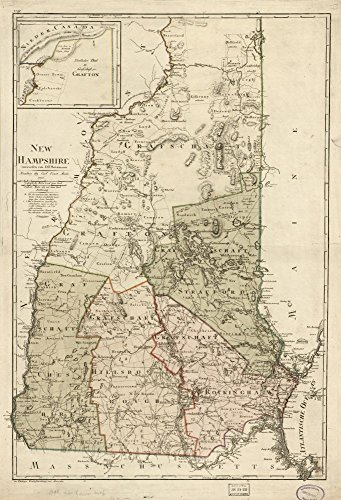 (Vintage 1796 Map of New Hampshire New Hampshire, United States)