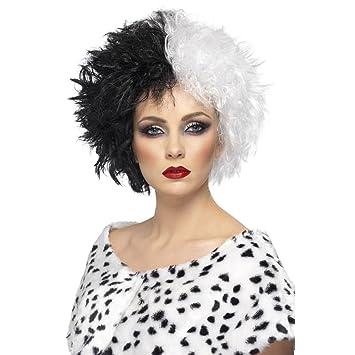 NET TOYS Peluca Cruella Pelo postizo Mujer Bicolor Negro-Blanco Peinado ochentero Cabello Carnaval arlequín