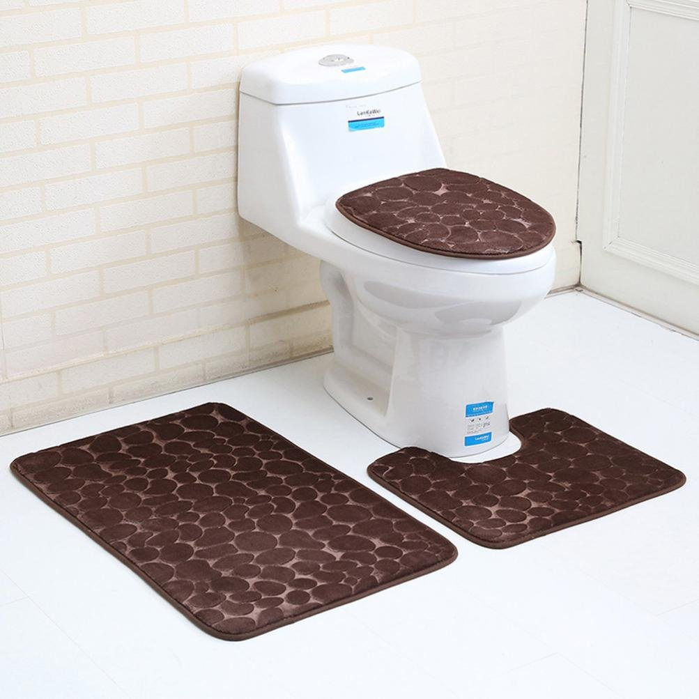 3PC Bathroom Set ,Solid Color Rug Lid Toilet Cover Bath Mat (Brown) by PrettyW