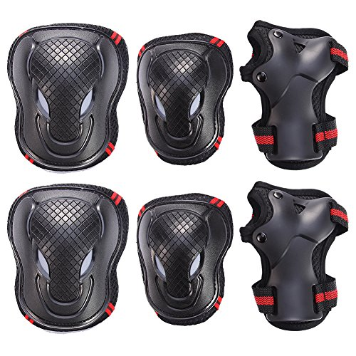 Gobike-6-in-1-Thicken-Skateboard-Cycling-Roller-Skating-Outdoor-Sport-Blading-Elbow-Knee-Wrist-Protective-Gear-Pads-Safety-Gear-Pad-Guard-for-Adult-Child-Kid-Use-RedBlack-Color