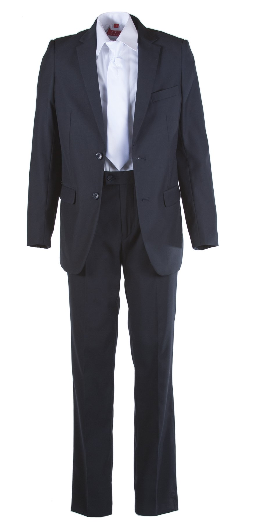 Boys Slim Fit Navy Communion Suit White Religious Cross Tie & Suspenders (10 Boys)