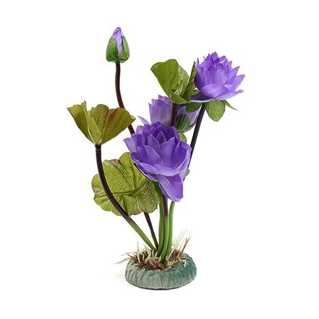 sourcing map Acuario De Plástico Planta Púrpura Flor De Loto Pecera Adorno De Decoración Paisaje Acuático