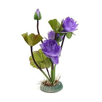 sourcing map Acuario De Plástico Planta Púrpura Flor De Loto Pecera Adorno De Decoración Paisaje Acuático: Amazon.es: Productos para mascotas
