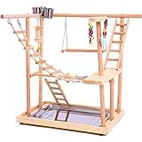 Bird Perches Nest Play Stand Gym/Parrot Interactive Playground, Bird Perch Platform Stand Swing Bridge Wood Climb Ladders for Small Animals Parrot Parakeet